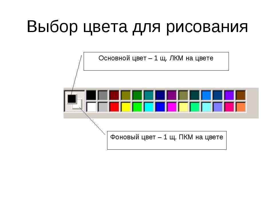 Выбор цвета для рисования Основной цвет – 1 щ. ЛКМ на цвете Фоновый цвет – 1 ...