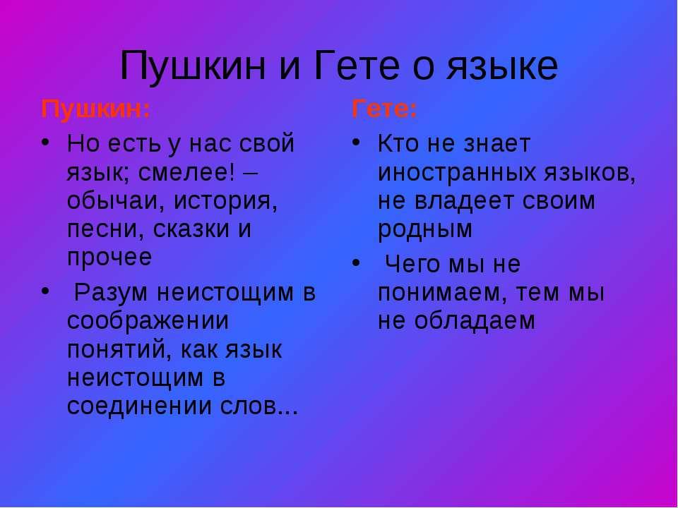 Пушкин и Гете о языке Пушкин: Но есть у нас свой язык; смелее! – обычаи, исто...