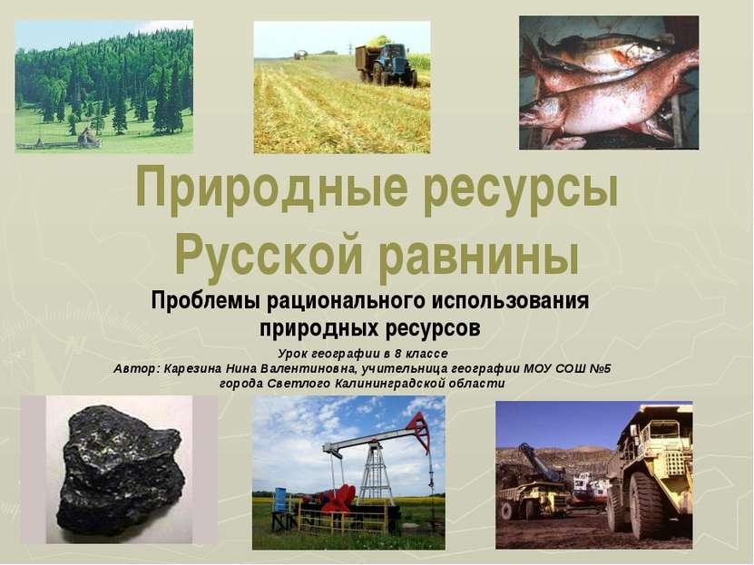 Природные ресурсы Русской равнины Проблемы рационального использования природ...