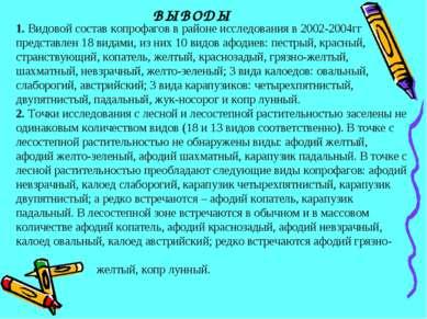 ВЫВОДЫ 1. Видовой состав копрофагов в районе исследования в 2002-2004гг предс...