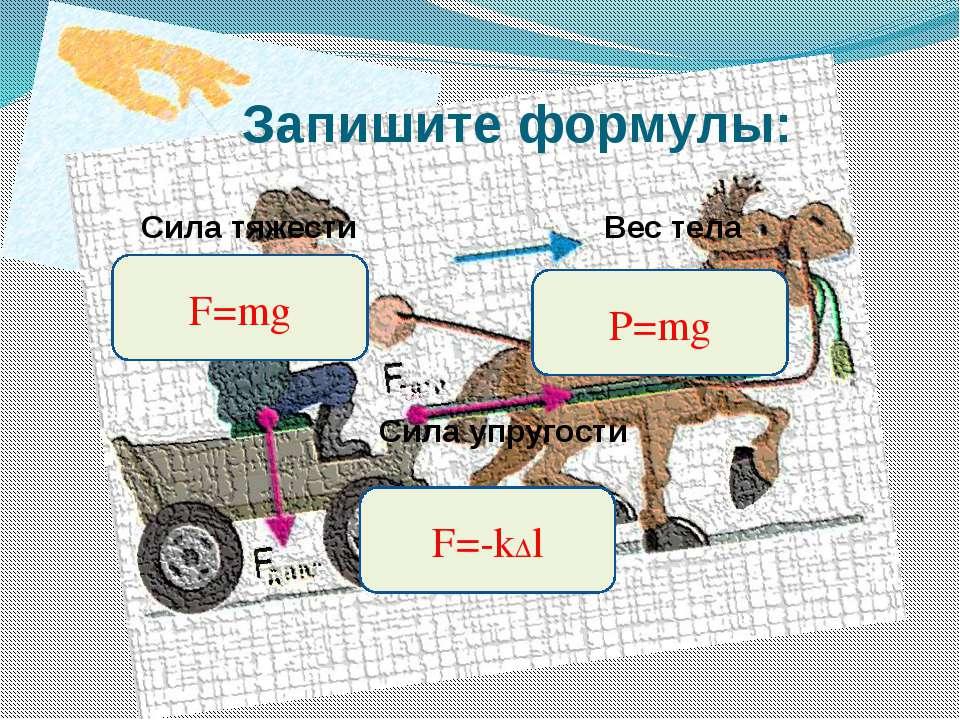 Запишите формулы: Сила тяжести Вес тела Сила упругости F=mg F=-k∆l P=mg