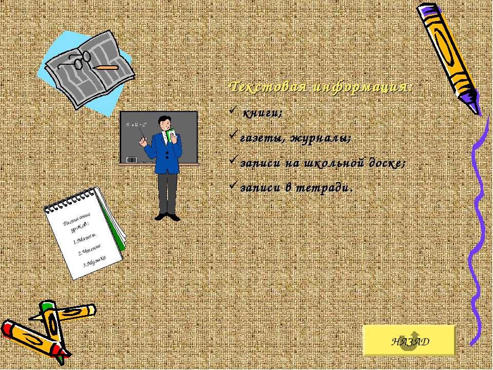 НАЗАД Текстовая информация: книги; газеты, журналы; записи на школьной доске;...