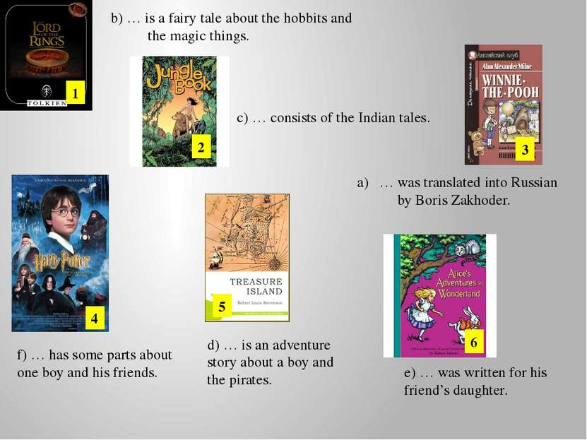 … was translated into Russian by Boris Zakhoder. 1 2 3 4 5 6 b) … is a fairy ...