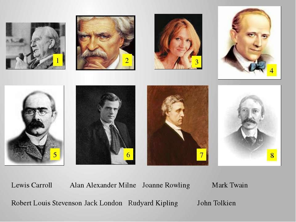 1 2 3 4 5 6 7 8 Lewis Carroll Alan Alexander Milne Joanne Rowling Mark Twain ...