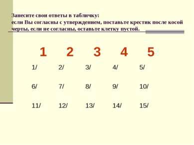 Занесите свои ответы в табличку: если Вы согласны с утверждением, поставьте к...