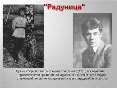 """Первый сборник стихов Есенина """"Радуница"""" (1916) восторженно приветствуется кр..."""