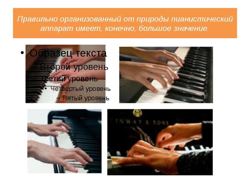 Правильно организованный от природы пианистический аппарат имеет, конечно, бо...