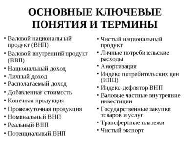 ОСНОВНЫЕ КЛЮЧЕВЫЕ ПОНЯТИЯ И ТЕРМИНЫ Валовой национальный продукт (ВНП) Валово...