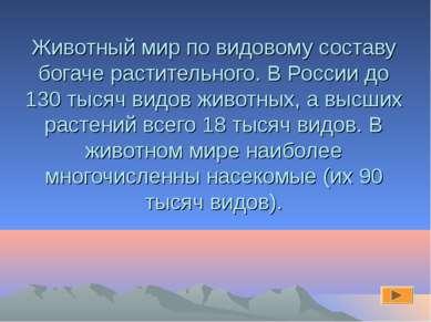 Животный мир по видовому составу богаче растительного. В России до 130 тысяч ...
