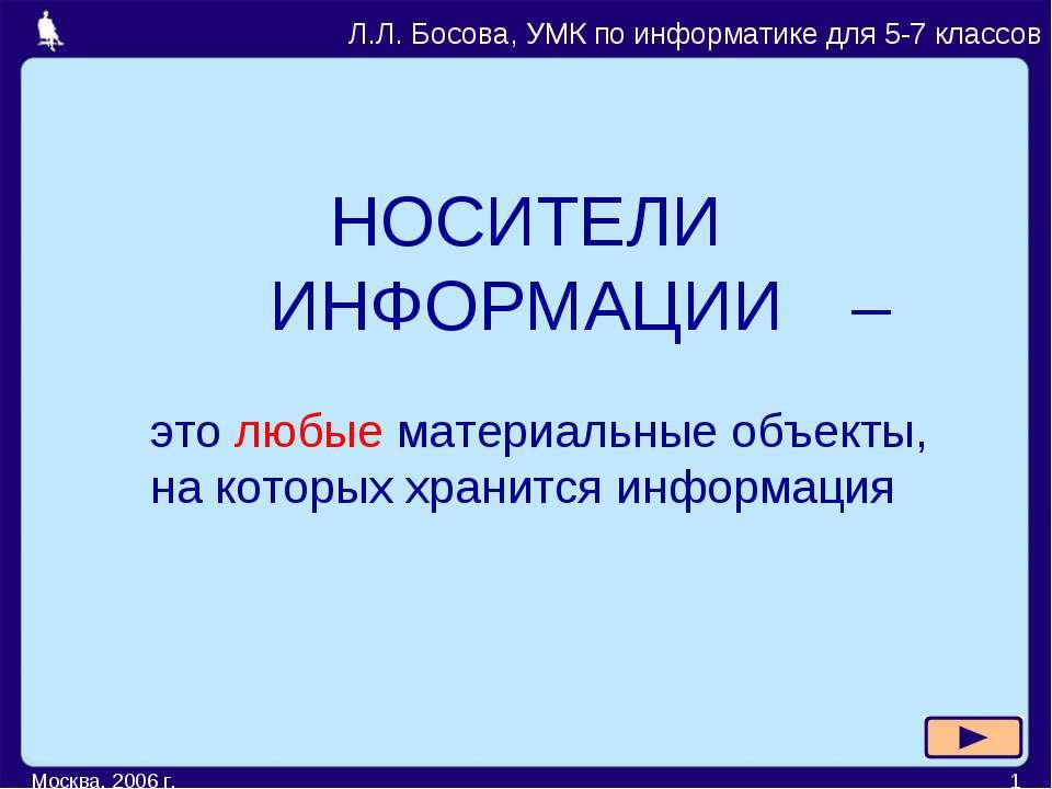 Москва, 2006 г. * НОСИТЕЛИ ИНФОРМАЦИИ Л.Л. Босова, УМК по информатике для 5-7...