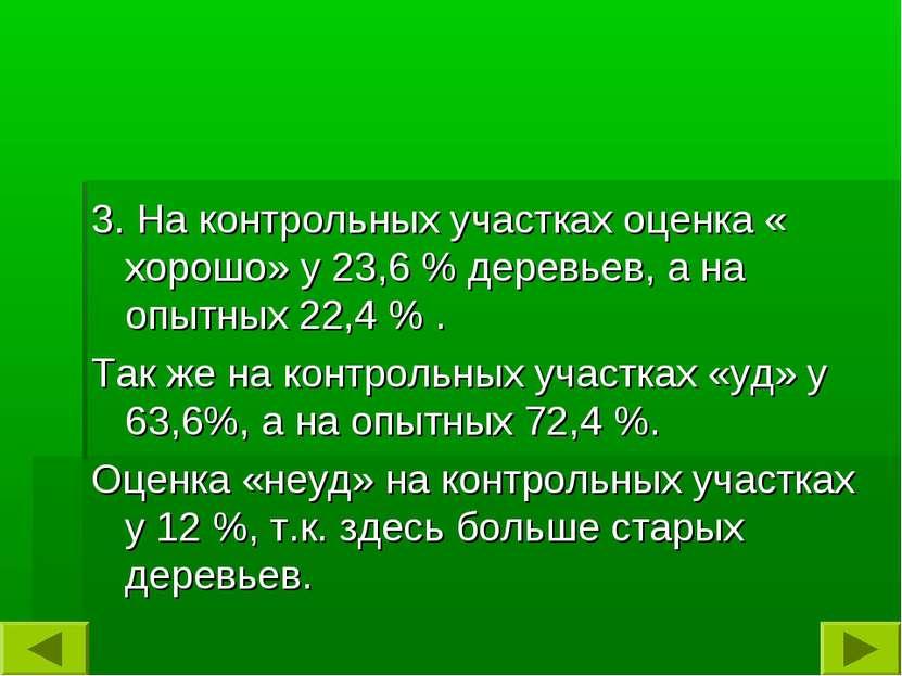 3. На контрольных участках оценка « хорошо» у 23,6 % деревьев, а на опытных 2...