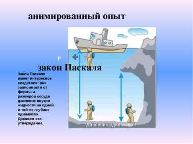 P закон Паскаля анимированный опыт Закон Паскаля имеет интересное следствие: ...