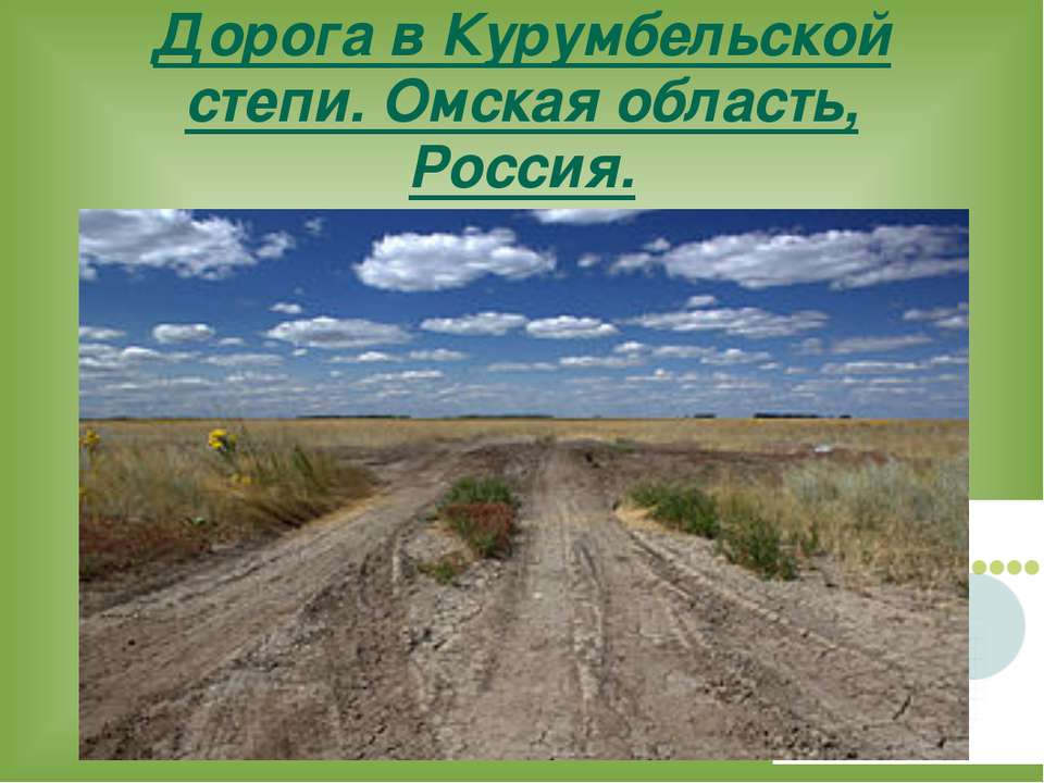 Дорога в Курумбельской степи. Омская область, Россия.