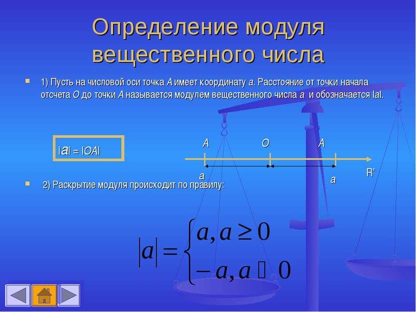 Определение модуля вещественного числа 1) Пусть на числовой оси точка А имеет...