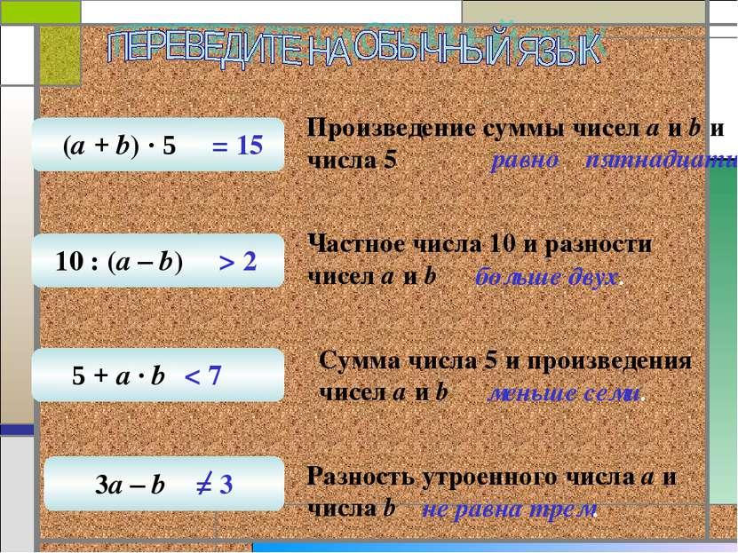 Произведение суммы чисел а и b и числа 5 равно пятнадцати. Частное числа 10 и...