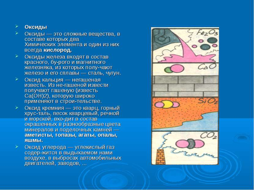 Оксиды Оксиды — это сложные вещества, в составе которых два Химических элемен...