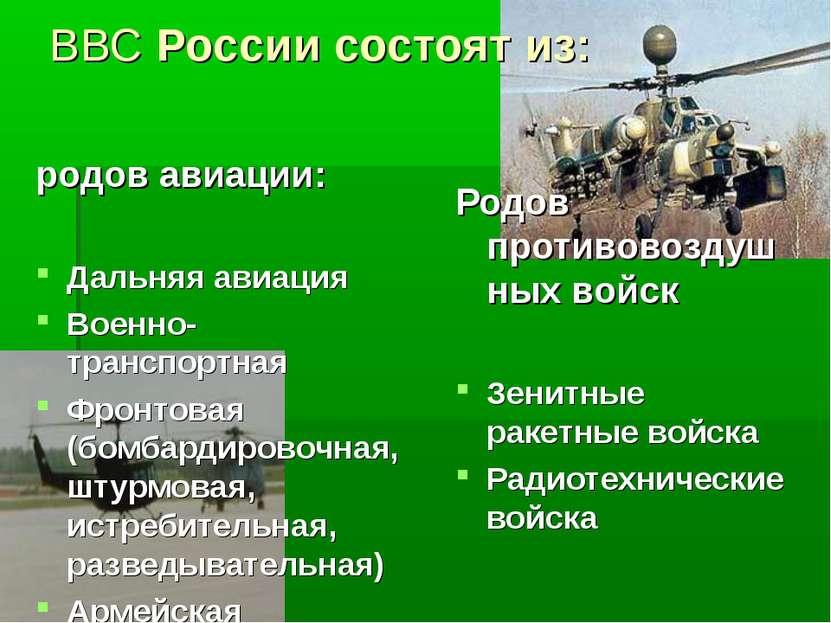 ВВС России состоят из: родов авиации: Дальняя авиация Военно-транспортная Фро...