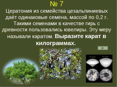 № 7 Цератония из семейства цезальпиниевых даёт одинаковые семена, массой по 0...