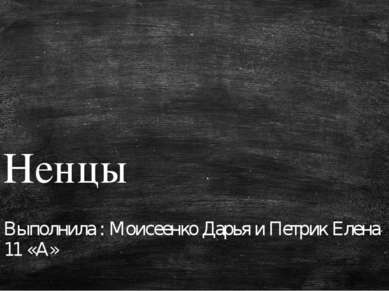 Ненцы Выполнила : Моисеенко Дарья и Петрик Елена 11 «А»
