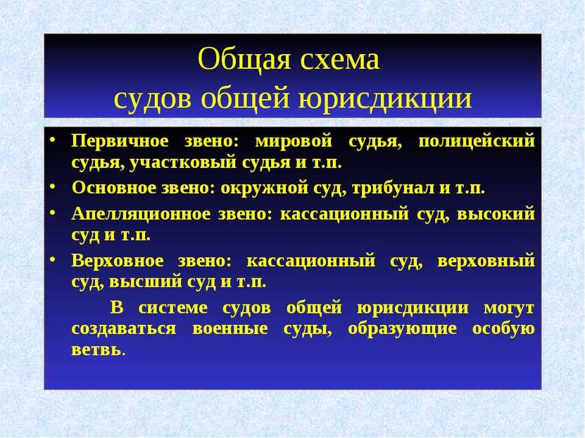 Общая схема судов общей юрисдикции Первичное звено: мировой судья, полицейски...