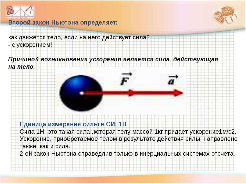Второй закон Ньютона определяет: как движется тело, если на него действует си...