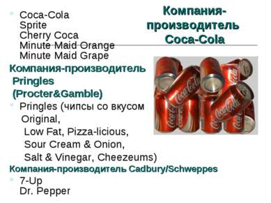Компания- производитель Coca-Cola Coca-Cola Sprite Cherry Coca Minute Maid Or...