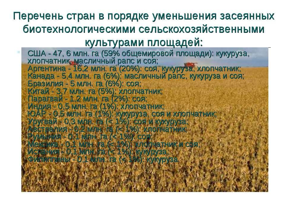 Перечень стран в порядке уменьшения засеянных биотехнологическими сельскохозя...