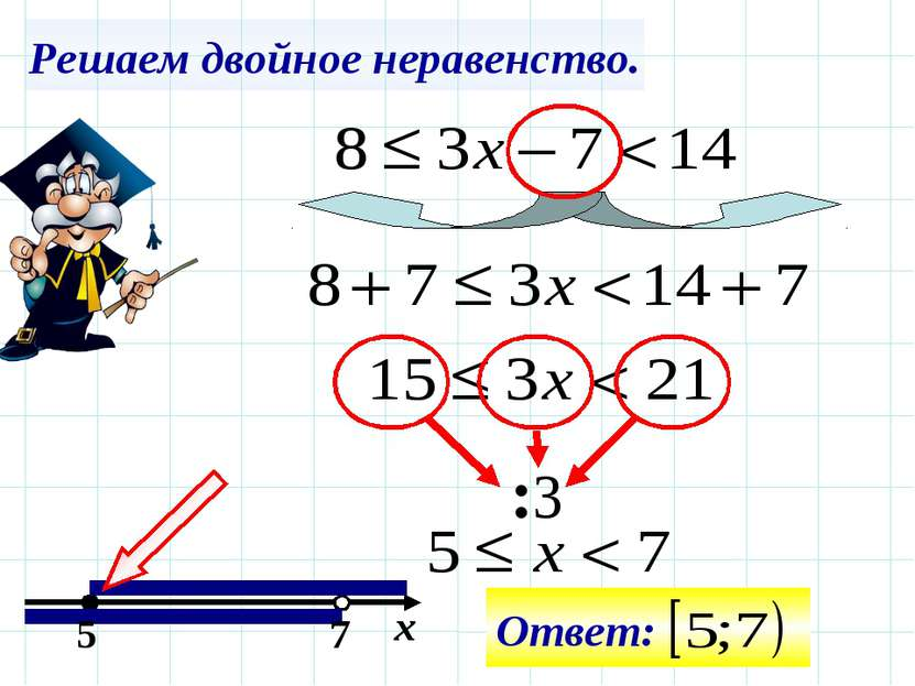 Решаем двойное неравенство. :3 5 7 х