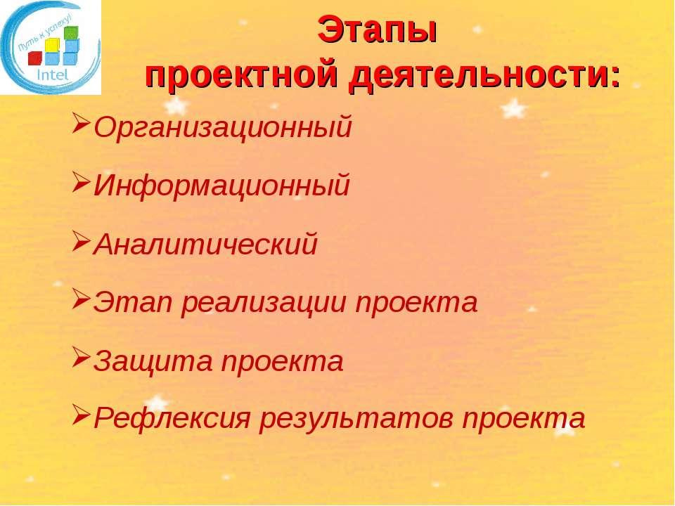 Этапы проектной деятельности: Организационный Информационный Аналитический Эт...
