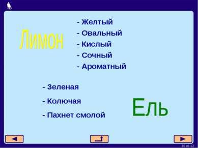 - Желтый - Овальный - Кислый - Сочный - Ароматный - Зеленая - Колючая - Пахне...