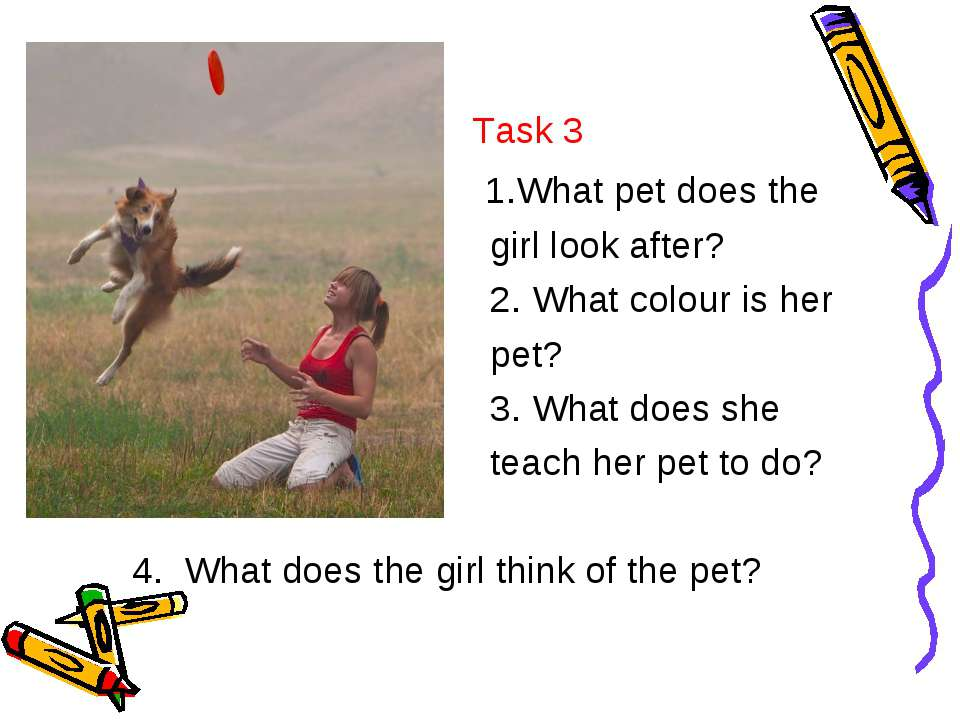 Task 3 1.What pet does the girl look after? 2. What colour is her pet? 3. Wha...