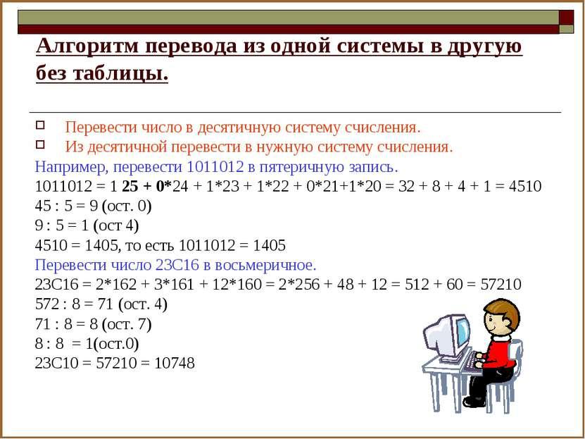 Алгоритм перевода из одной системы в другую без таблицы. Перевести число в де...