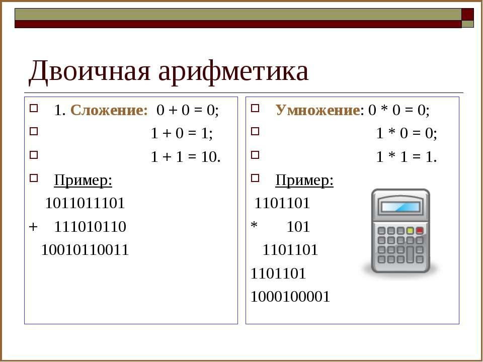 Двоичная арифметика 1. Сложение: 0 + 0 = 0; 1 + 0 = 1; 1 + 1 = 10. Пример: 10...