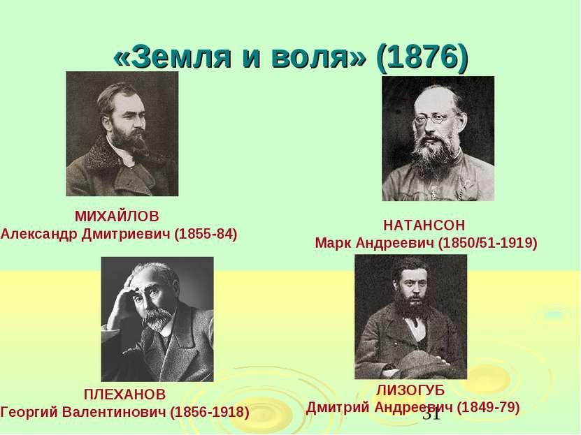 «Земля и воля» (1876) МИХАЙЛОВ Александр Дмитриевич (1855-84) НАТАНСОН Марк А...