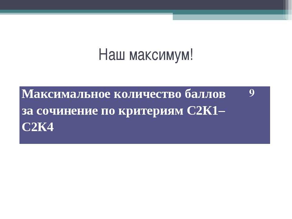 Наш максимум! Максимальное количество баллов за сочинение по критериям С2К1–С...