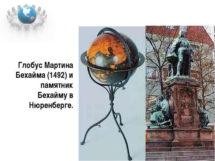 Глобус Мартина Бехайма (1492) и памятник Бехайму в Нюренберге.