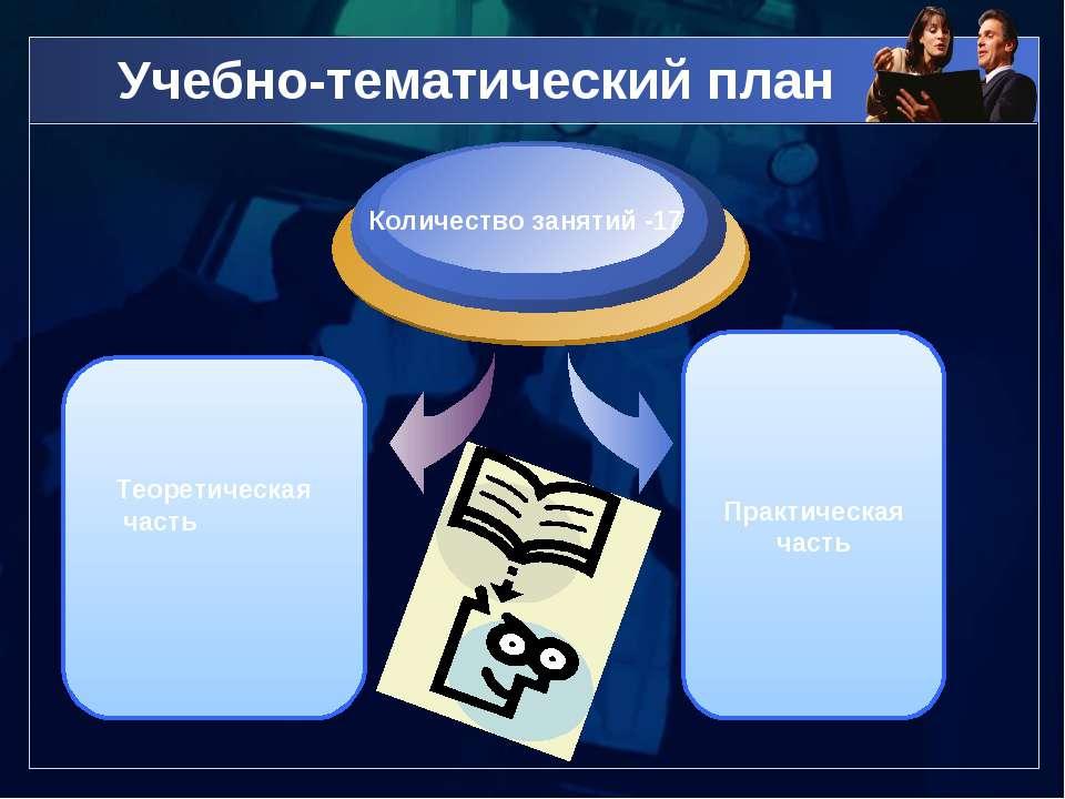 Учебно-тематический план Практическая часть Количество занятий -17 Теоретичес...