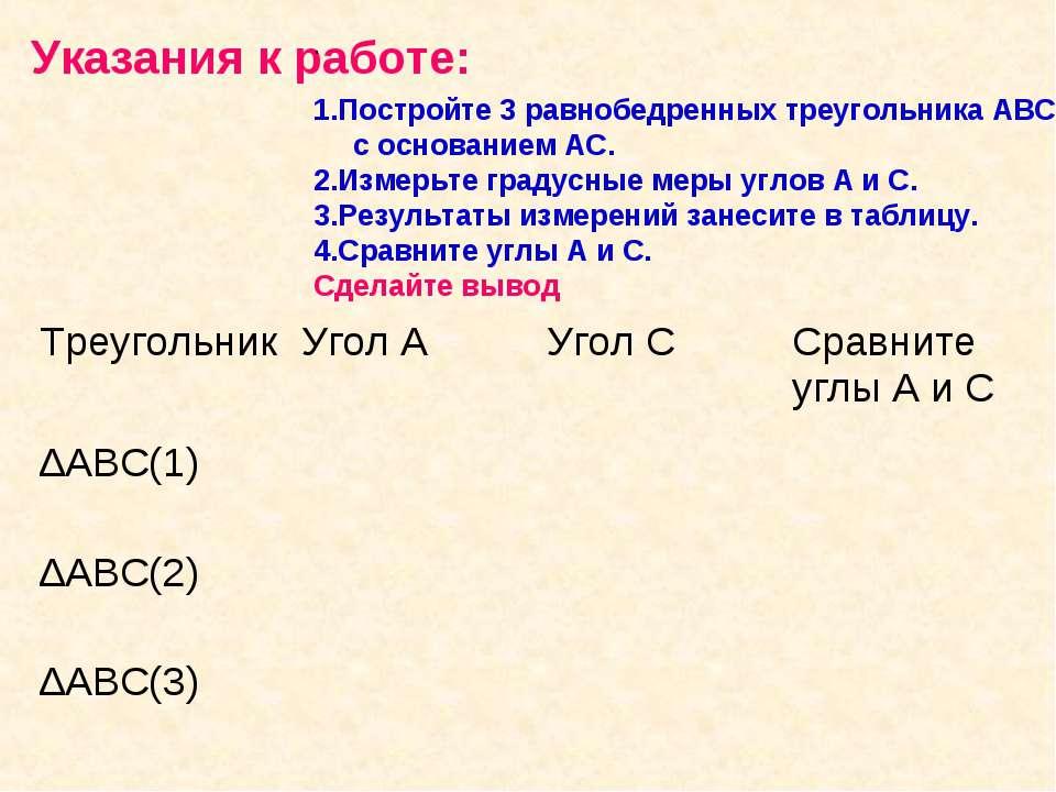 Указания к работе: . 1.Постройте 3 равнобедренных треугольника АВС, с основан...