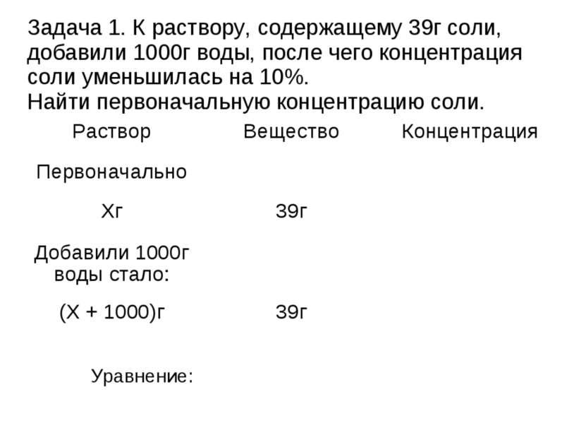 Задача 1. К раствору, содержащему 39г соли, добавили 1000г воды, после чего к...