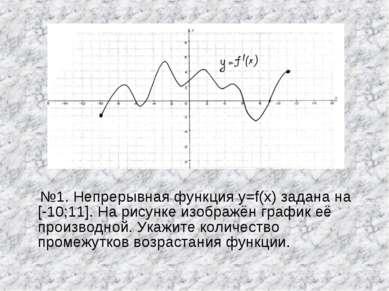 №1. Непрерывная функция y=f(x) задана на [-10;11]. На рисунке изображён графи...