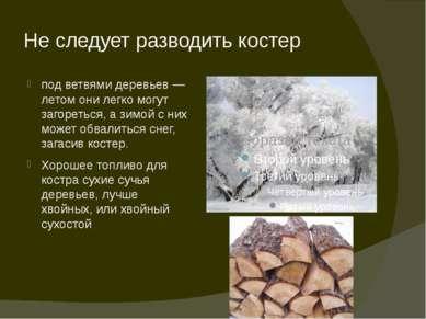 Не следует разводить костер под ветвями деревьев — летом они легко могут заго...