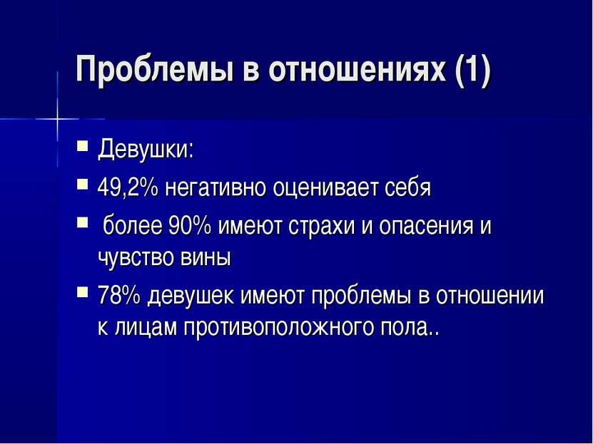 Проблемы в отношениях (1) Девушки: 49,2% негативно оценивает себя более 90% и...