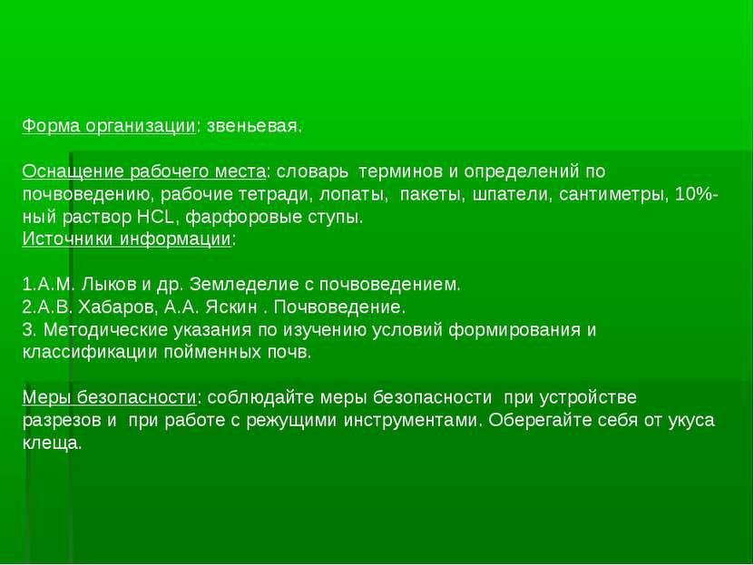 Форма организации: звеньевая. Оснащение рабочего места: словарь терминов и оп...