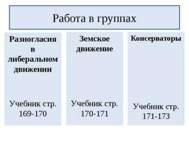 Разногласия в либеральном движении Учебник стр. 169-170 Работа в группах Земс...