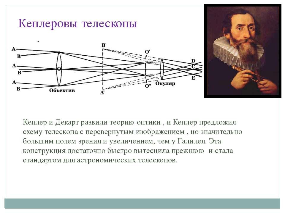Кеплеровы телескопы Кеплер и Декарт развили теорию оптики , и Кеплер предложи...