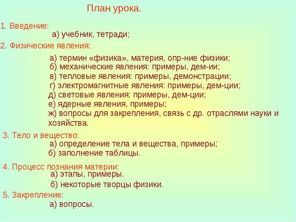 План урока. 1. Введение: а) учебник, тетради; 2. Физические явления: а) терми...