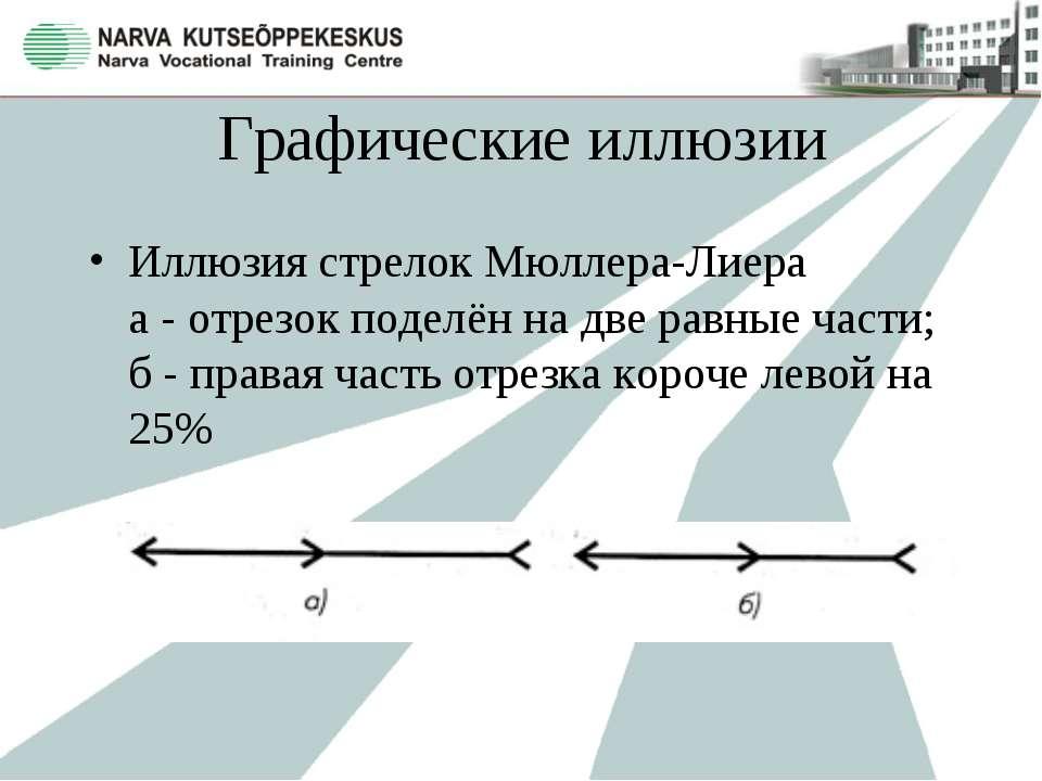 Графические иллюзии Иллюзия стрелок Мюллера-Лиера а - отрезок поделён на две ...