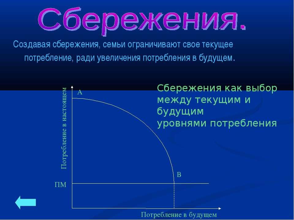 Сбережения как выбор между текущим и будущим уровнями потребления Создавая сб...