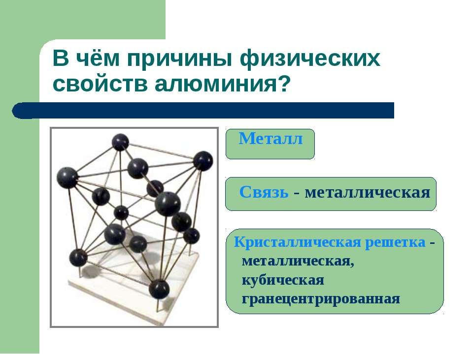 В чём причины физических свойств алюминия? Металл Связь - металлическая Крист...