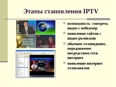 Этапы становления IPTV возможность смотреть видео с вебкамер появление сайто...